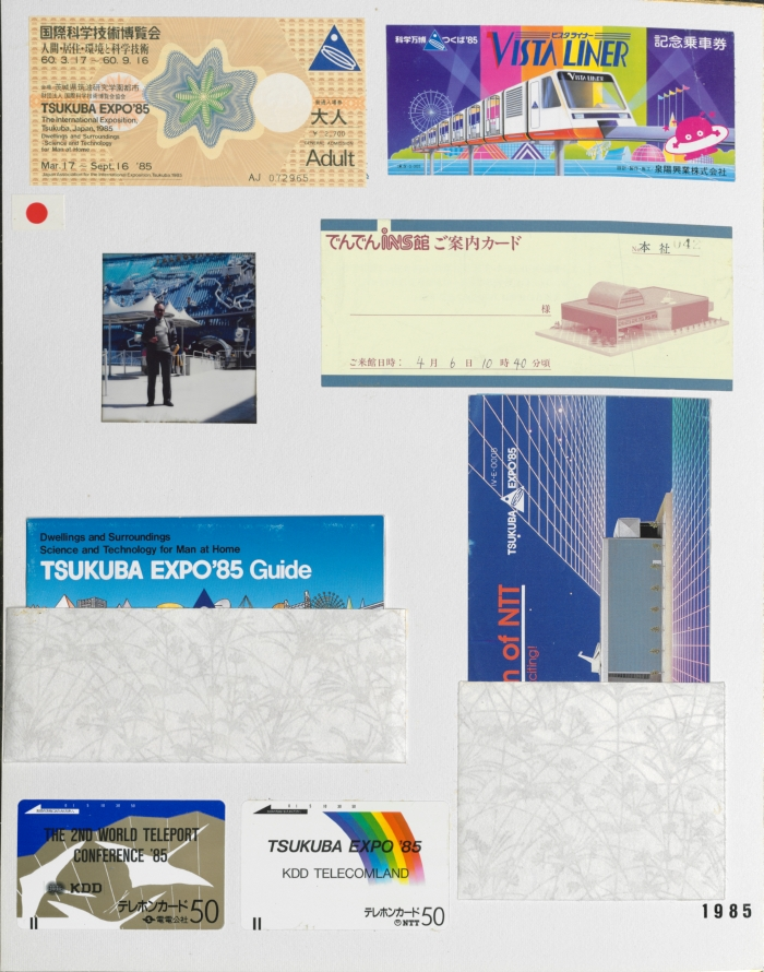 Scrapbook board with items from the 1985 World's Fair in Tsukuba, Japan