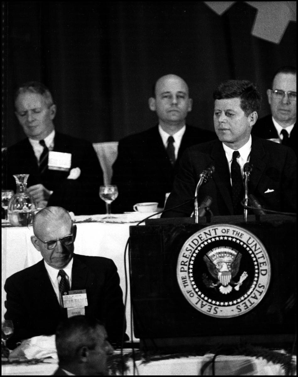 John F. Kennedy speaks at the congress.