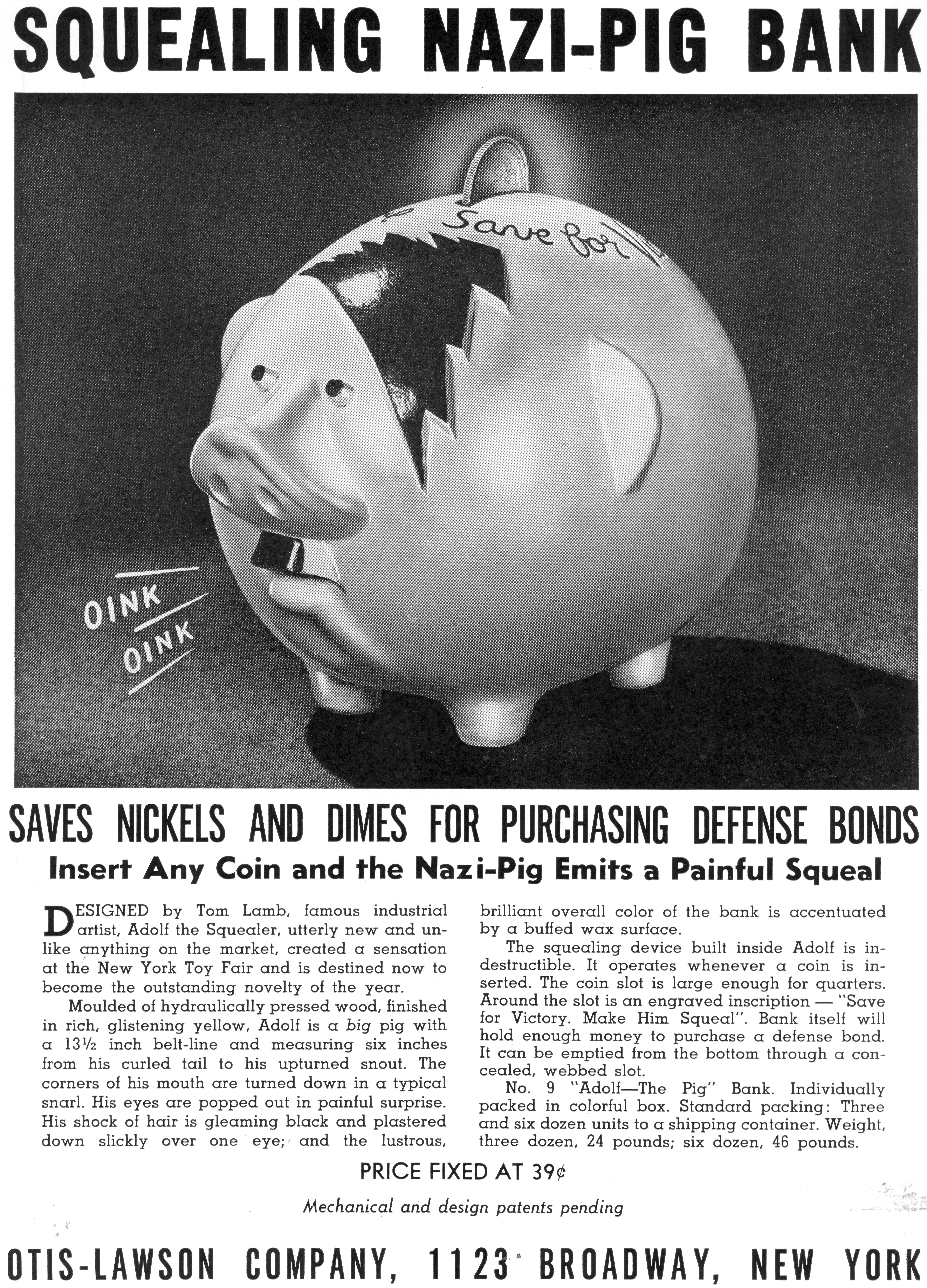 """Advertisement for a """"squealing Nazi"""" piggy bank styled after Adolph Hitler."""