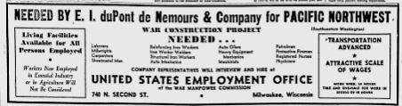 A DuPont ad to hire workers for unspecified war construction in the Pacific Northwest