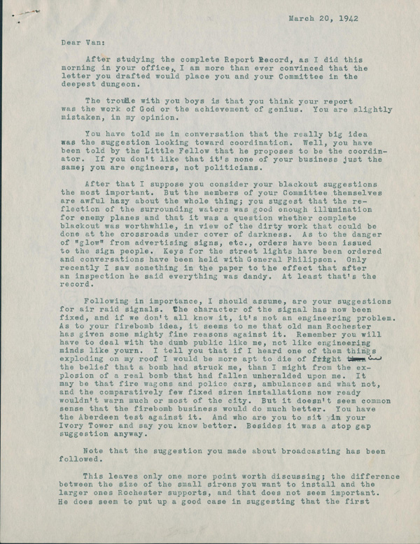 First page of memo from Roy Norr.