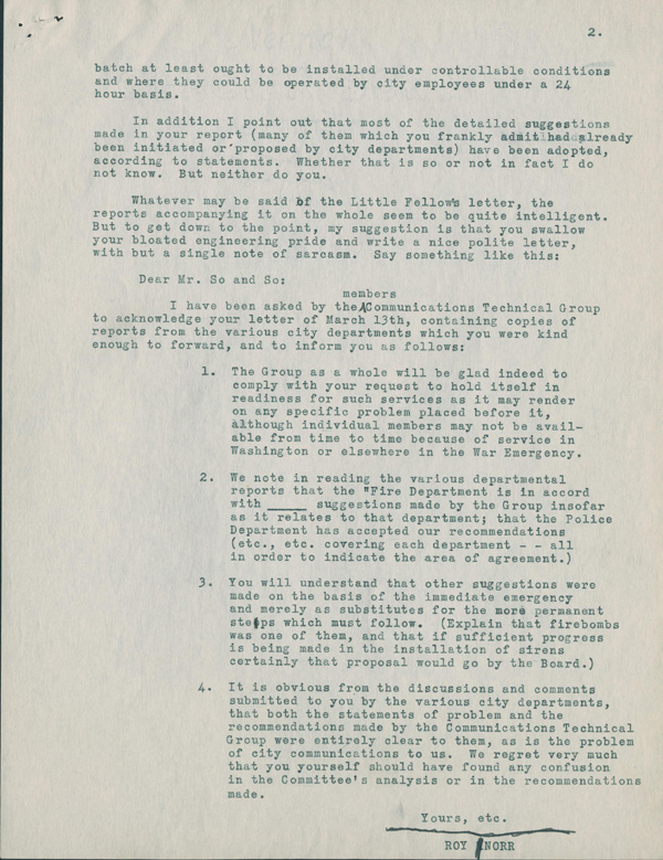 The second page of the Roy Norr letter.