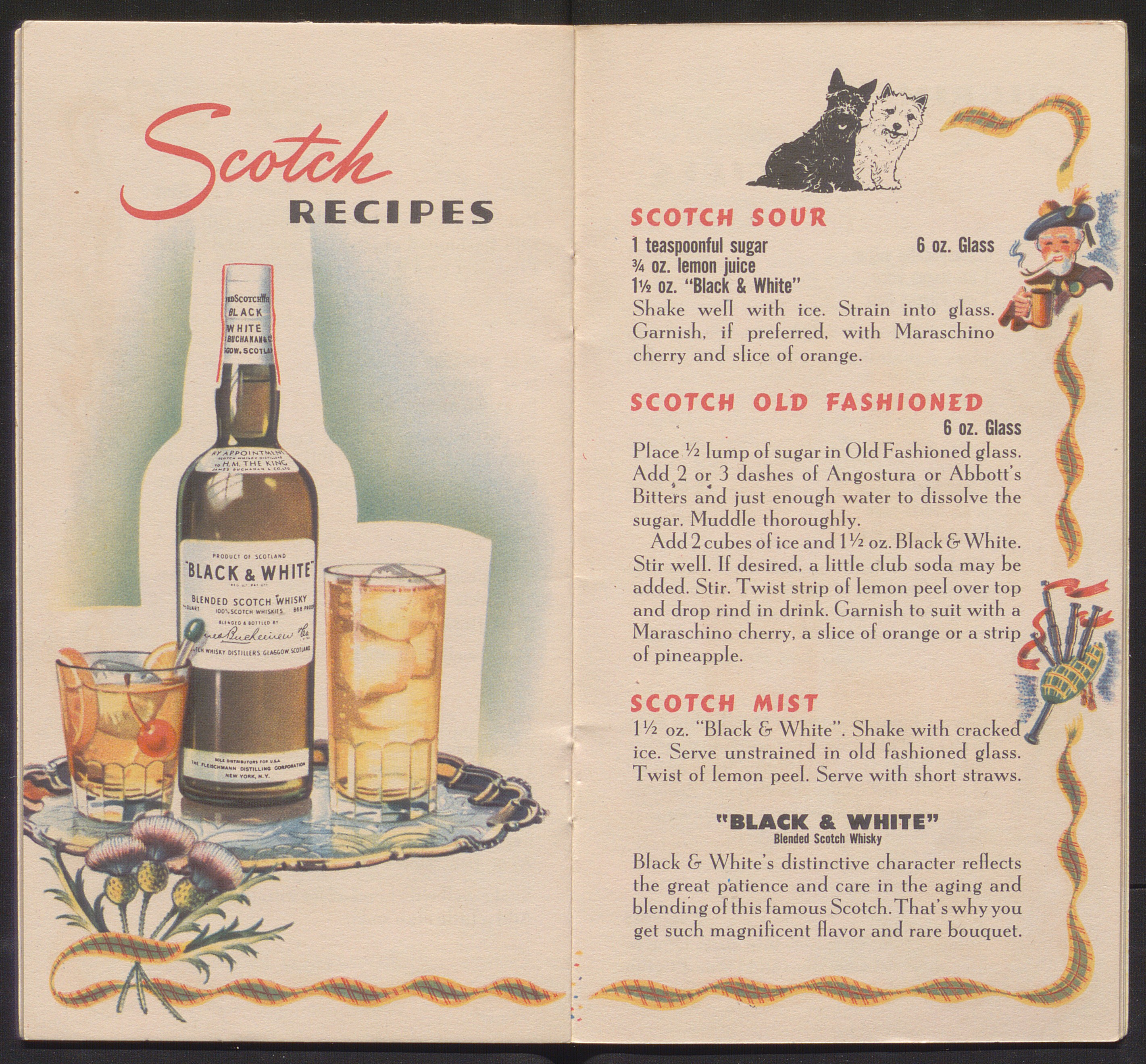 Pamphlet open to pages with color illustrations and recipes promoting scotch.