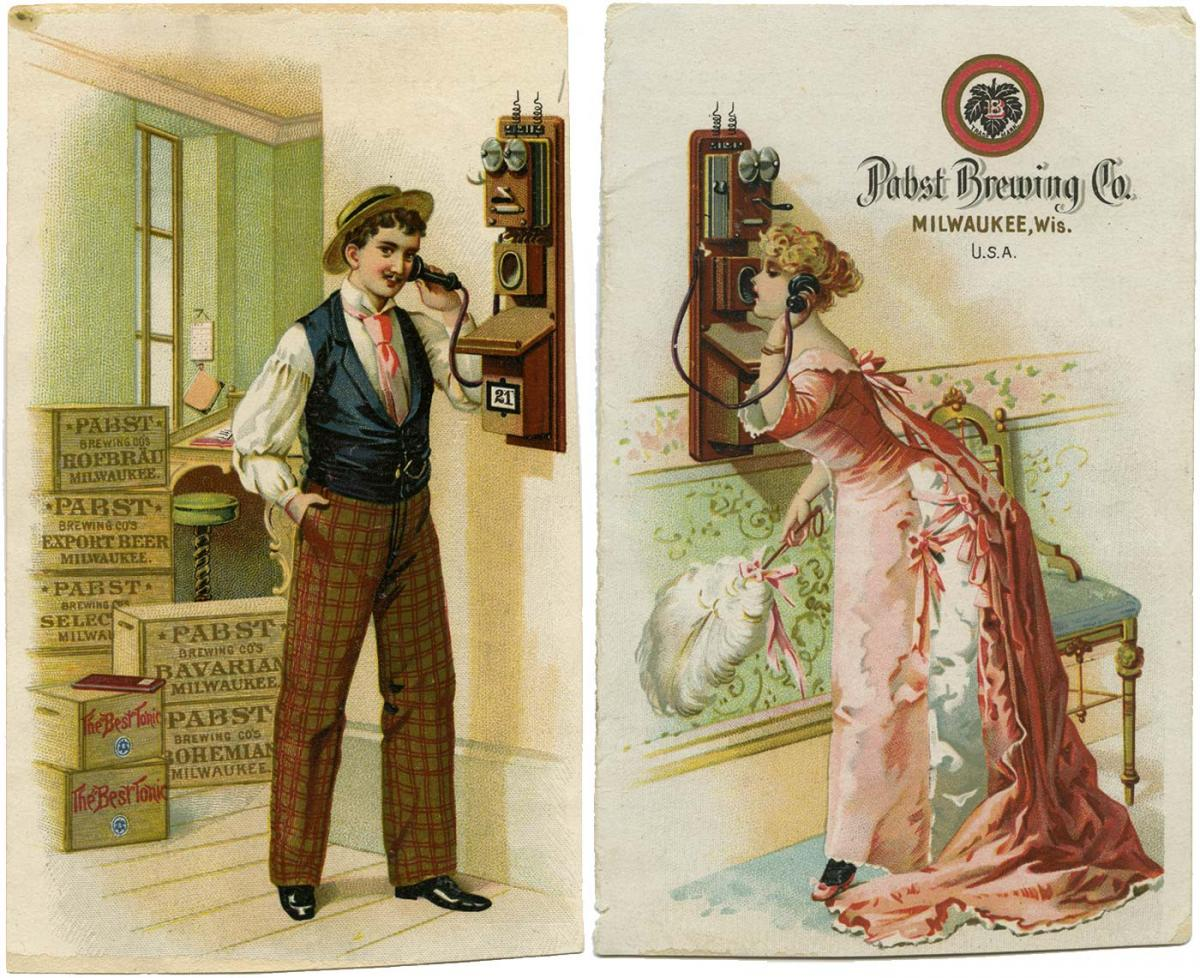 Trading card of man and woman on phone