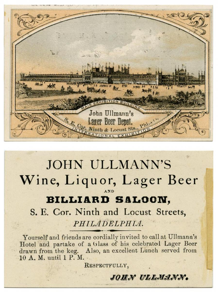 Trade card advertising Ullmann's beer and billiard saloon