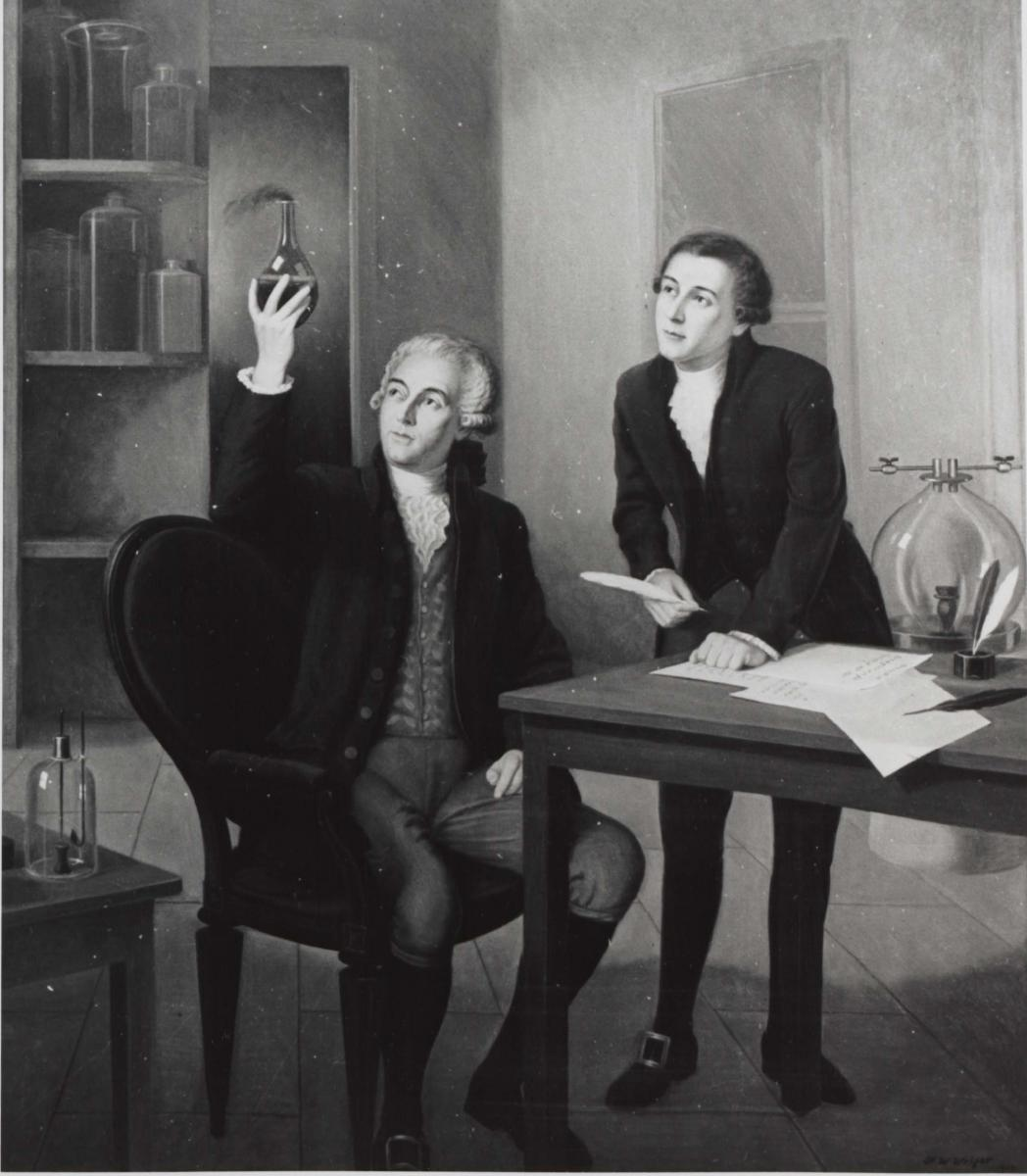 Lavoisier and du Pont study chemistry together