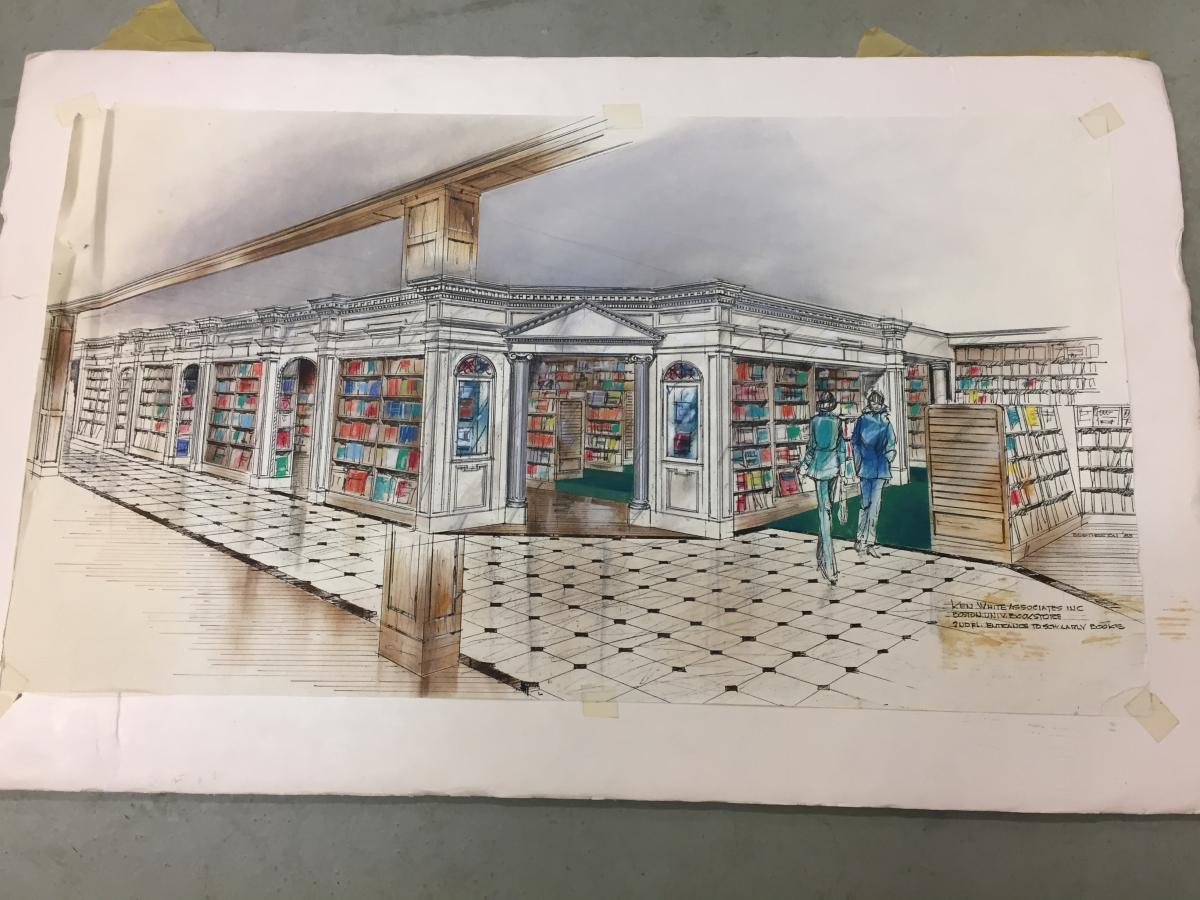 Sketch of bookstore