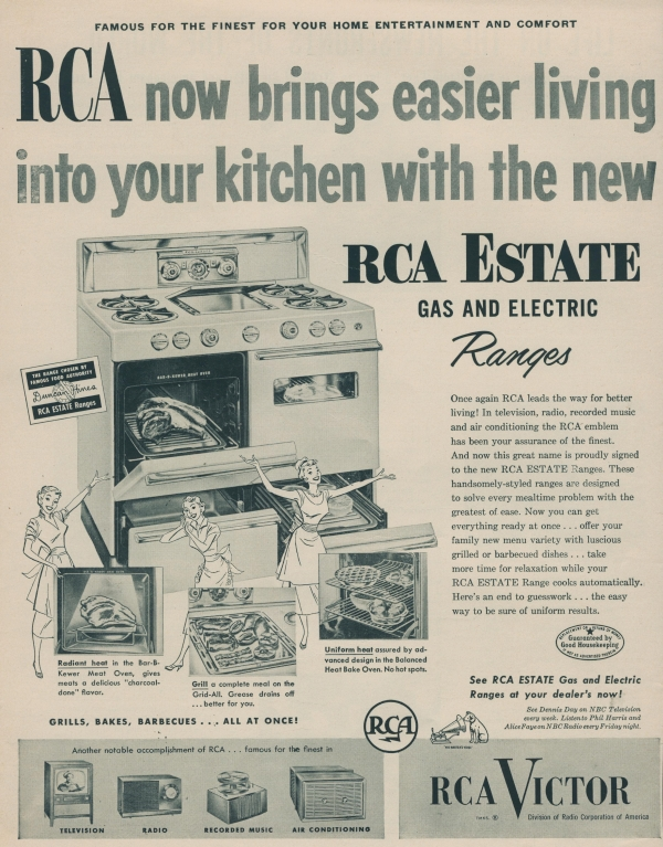 1953 RCA Victor Estate Gas and Electric Ranges advertisement in