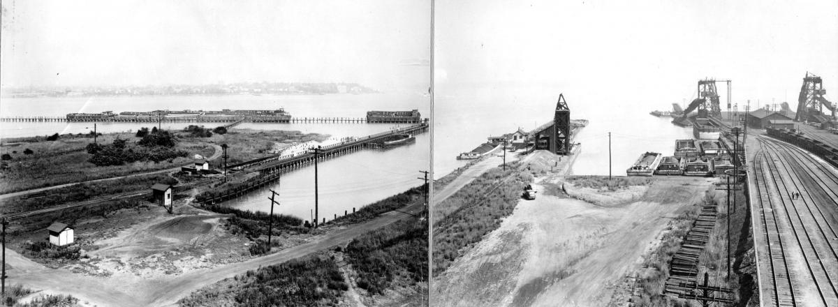 "The ""Powder Pier"" and coal piers at South Amboy before the explosion."