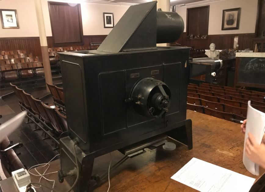 The lantern slide projector at the Wagner Free Institute.