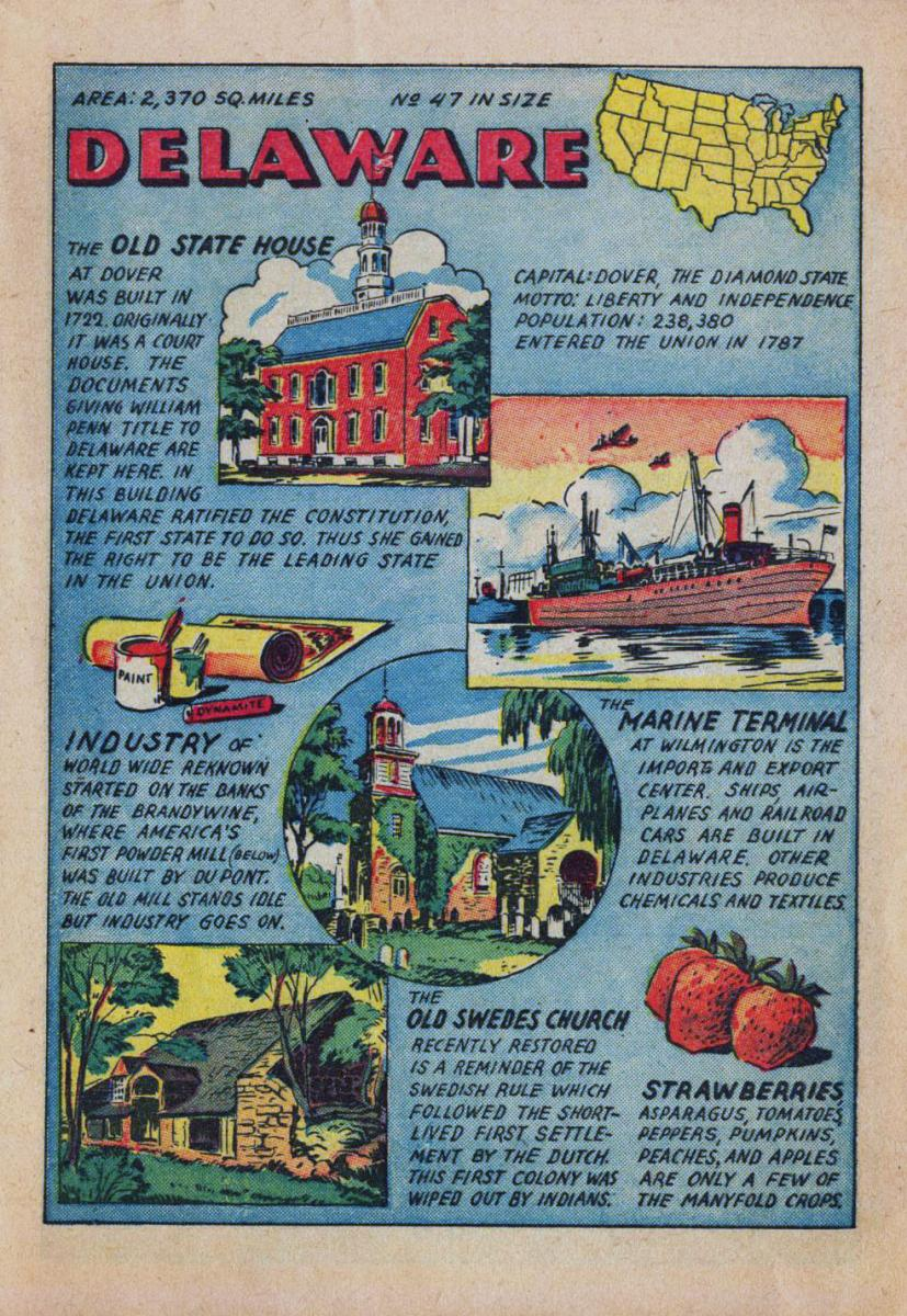 Comic page with facts about Delaware