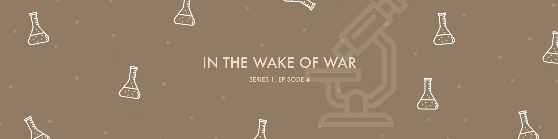 In the Wake of War text with beakers and microscope vector images