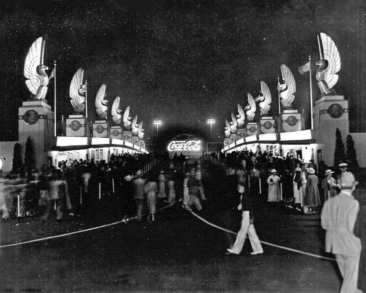 Fairgrounds with a crowd of people