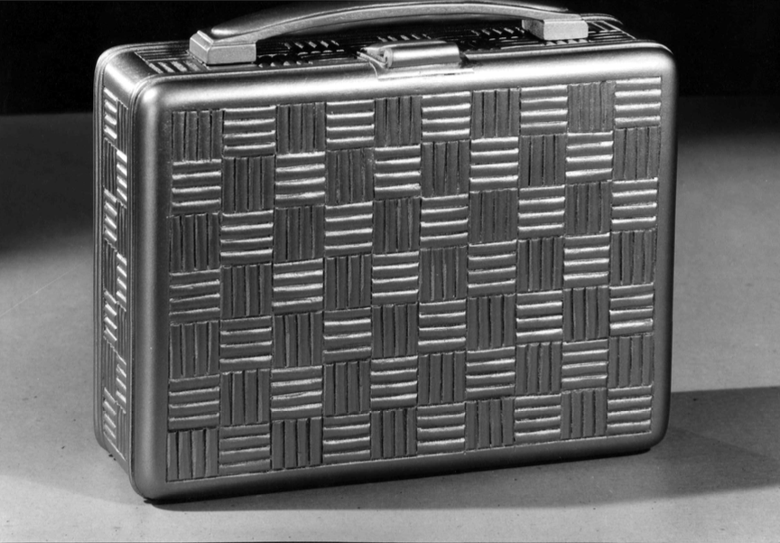 Metal Suitcase with crosshatch engraved design