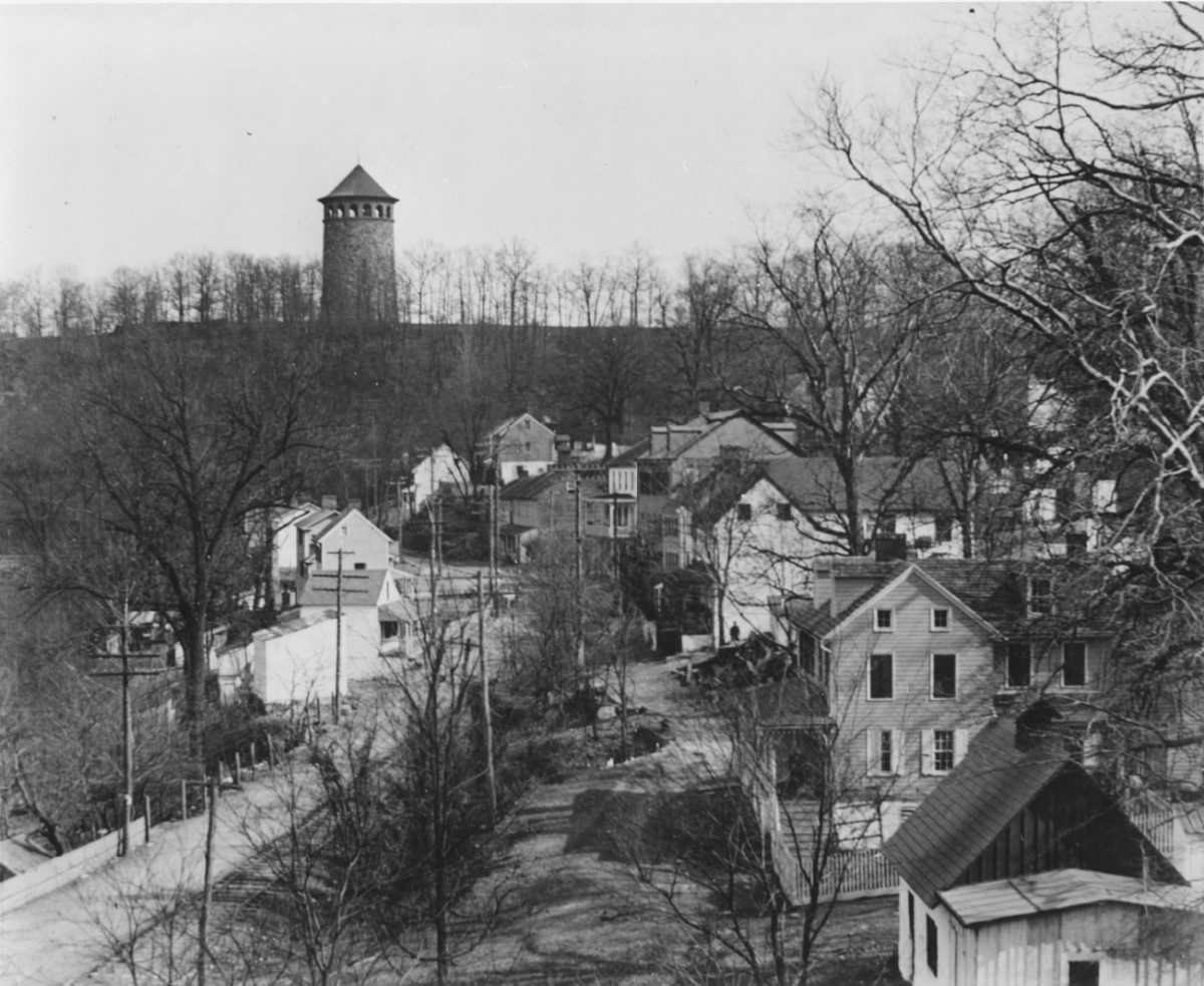 View of the village with Rockford tower in the distance on the hill.
