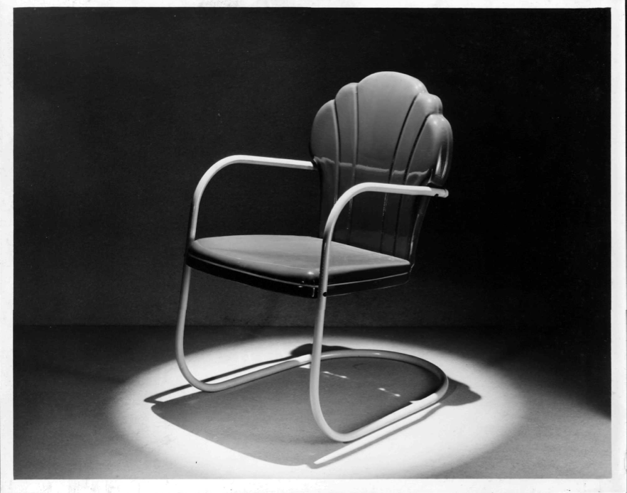 A shell chair.