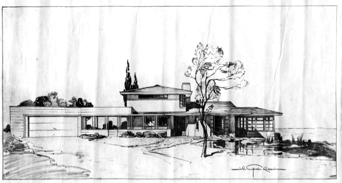 A sketched drawing of the Rideout's home.
