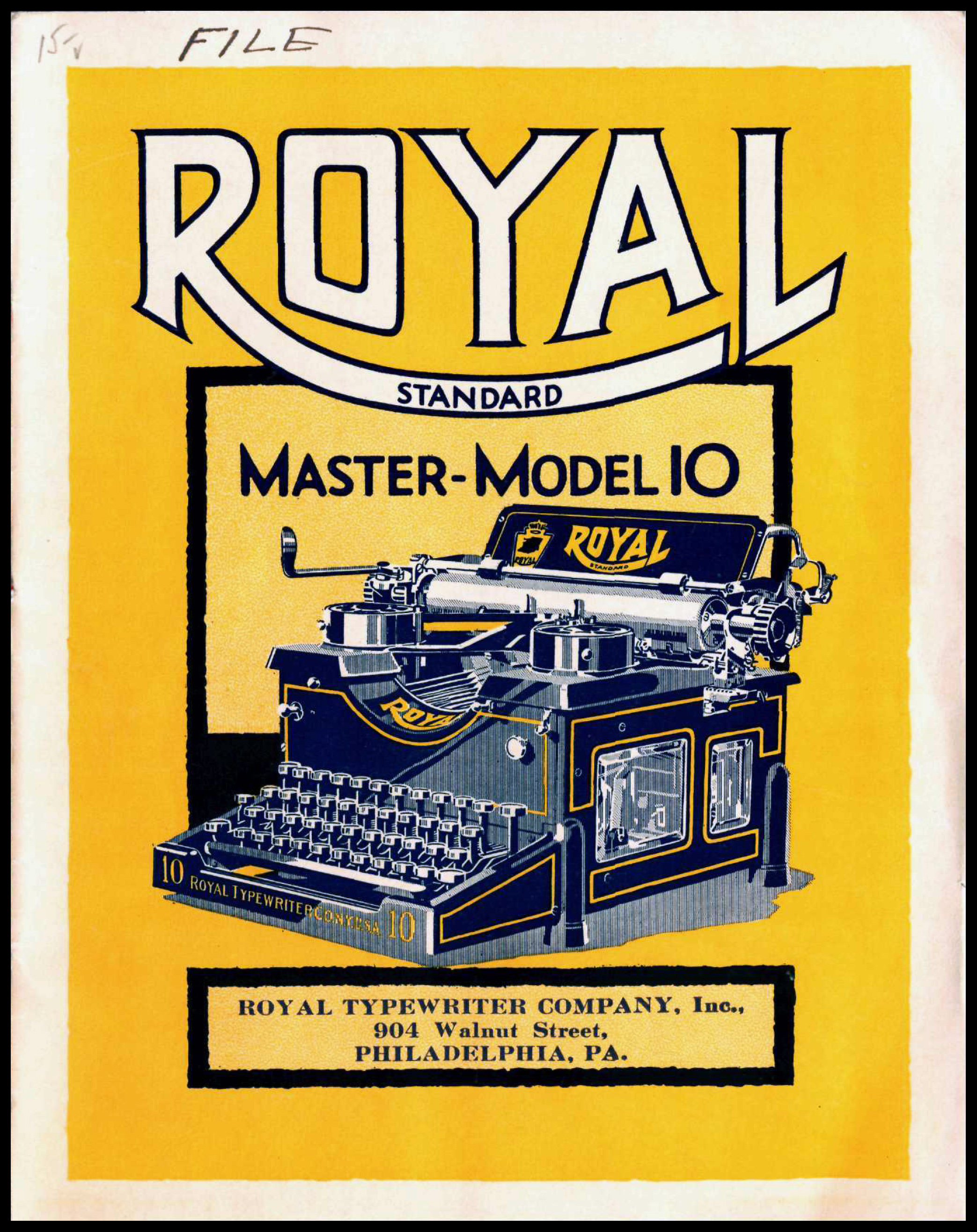 Cover of a typewriter catalog featuring an illustration of a typewriter on a yellow background