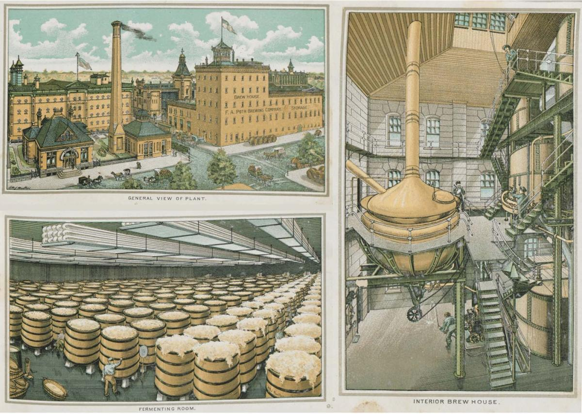 Souvenir album pages featuring the brewery