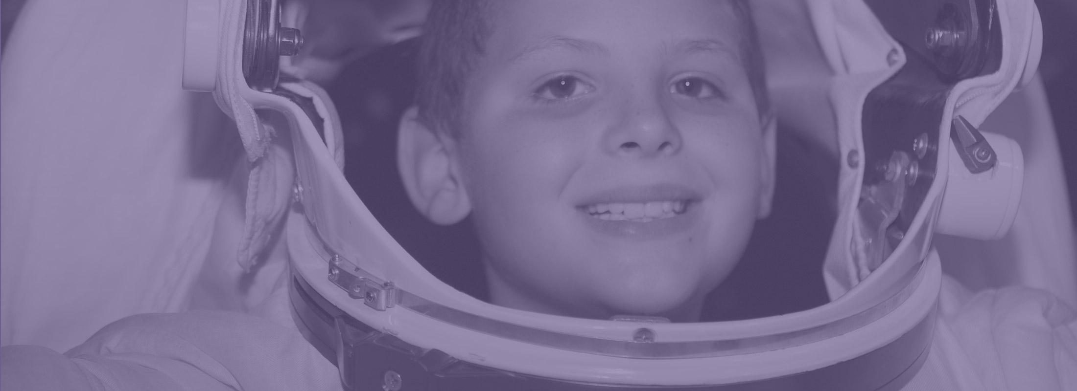 Kid in space gear