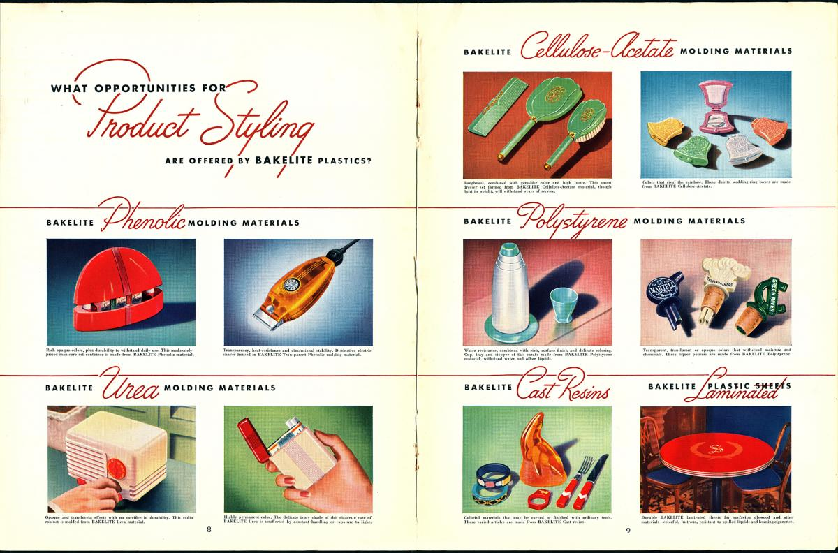 Bakelite advertisment of the different things it could be made of, from a radio to a lighter to hair brushes
