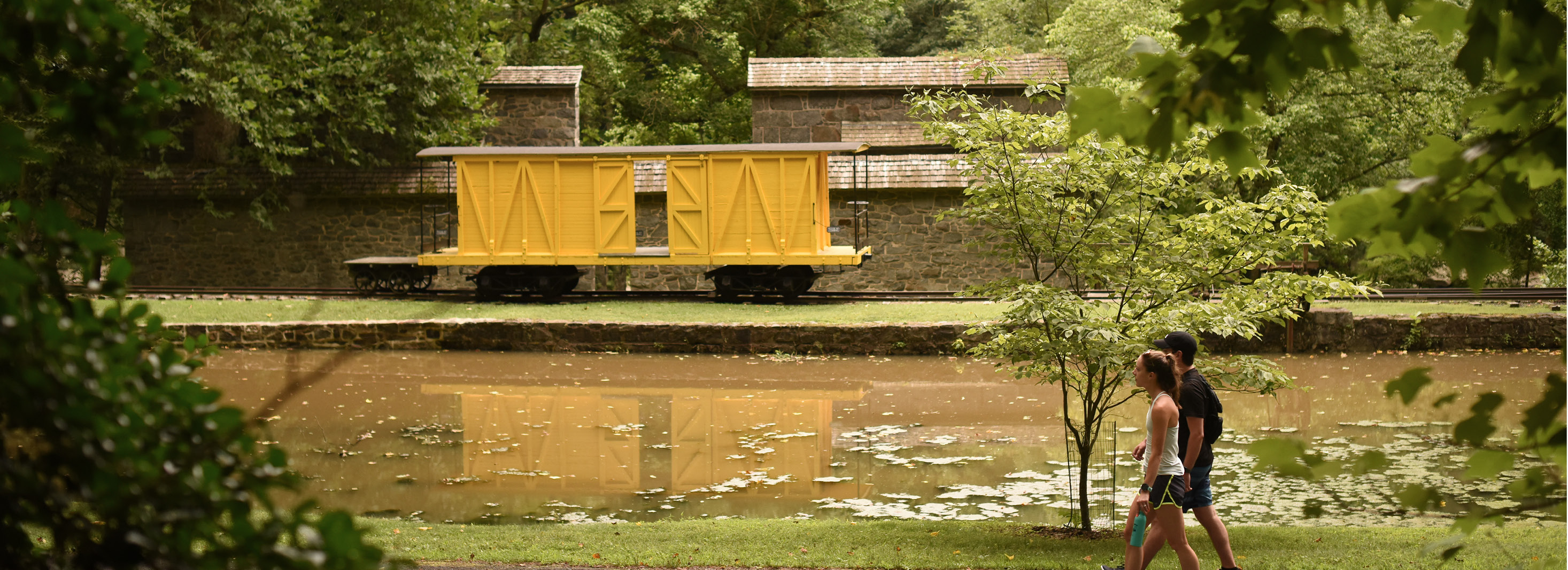 hagley's iconic boxcar next to the millrace
