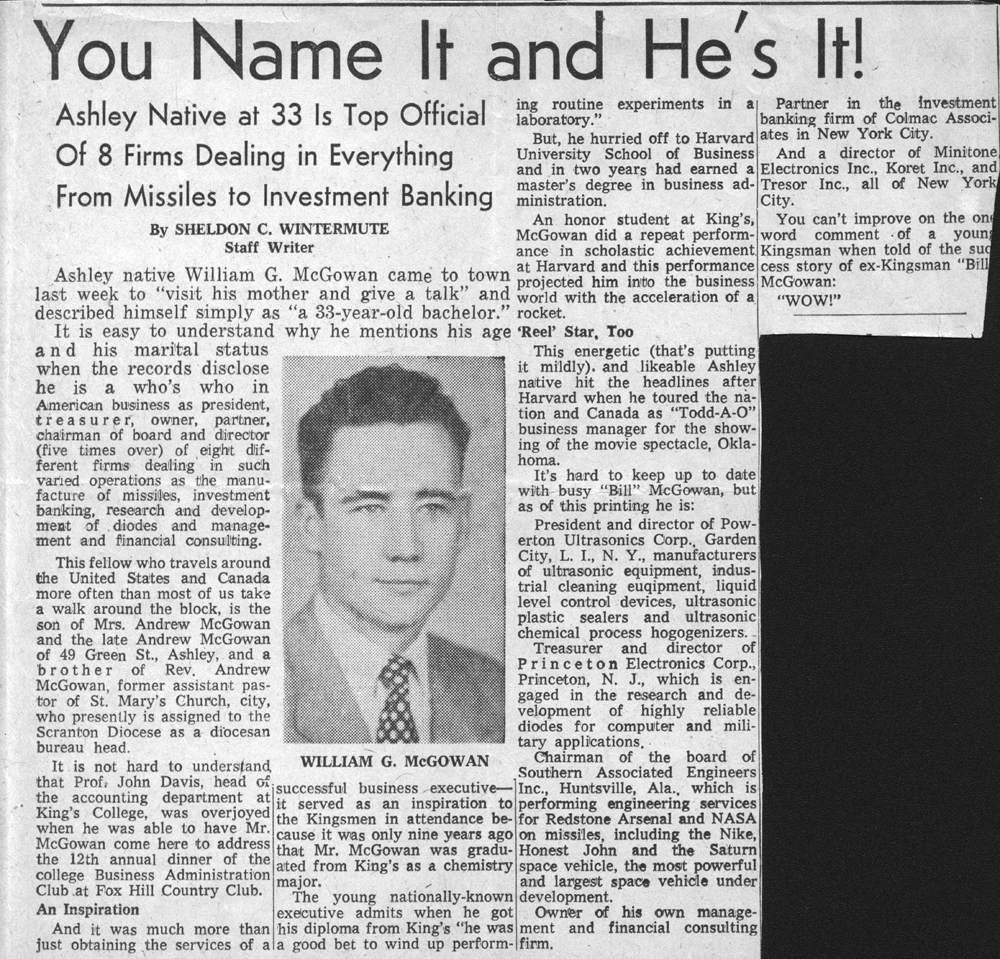 A newspaper article about McGowan's early success, 1960