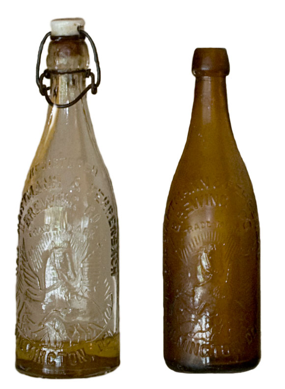Old glass beer bottles