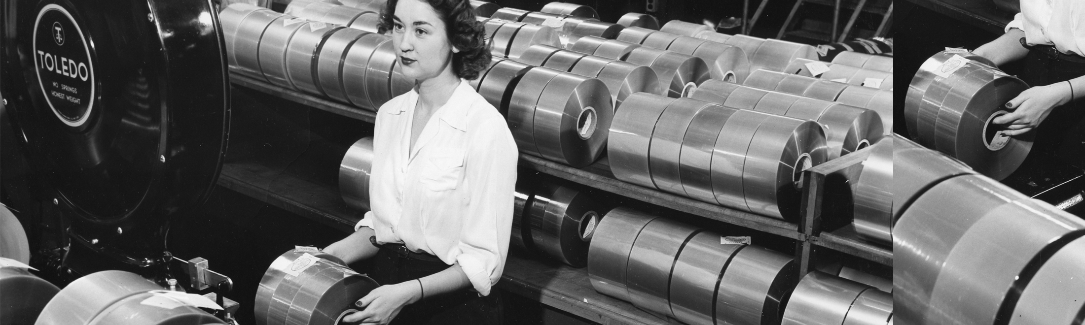 A female worker prepares cellophane rolls for shipment in a factory, 1950.
