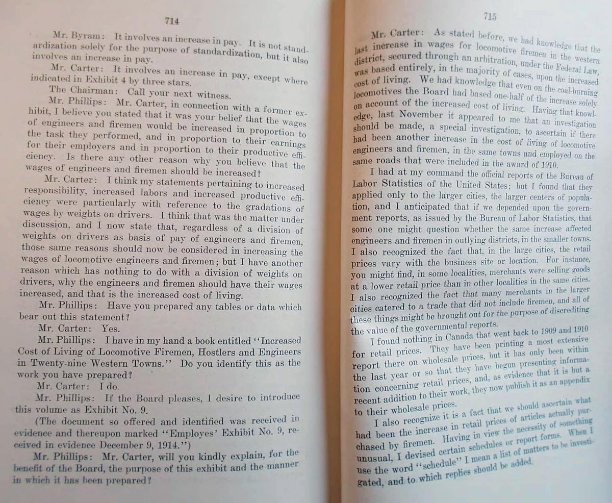 A book with the arbitration transcription