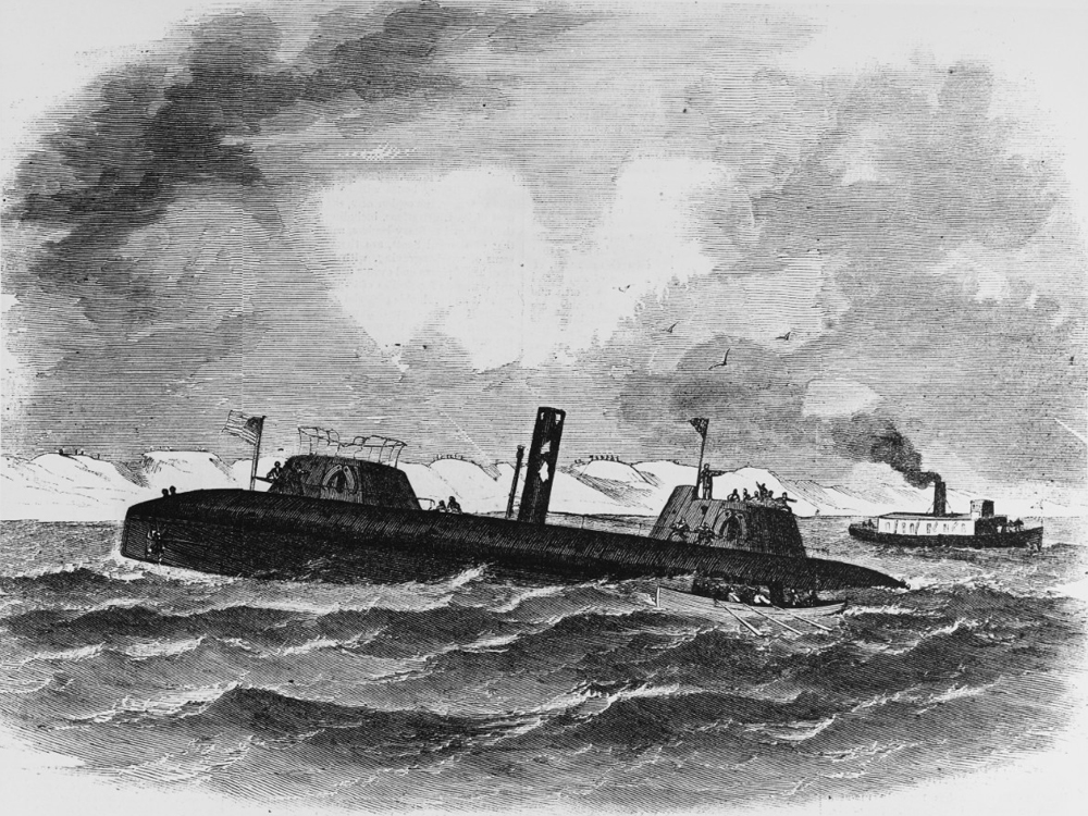 Line engraving from Harper's Weekly, 1863, showing USS Keokuk sinking off Charleston, South Carolina
