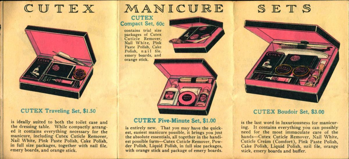 image of old ads, Cutex nail polish and nail care sets, $1-$3