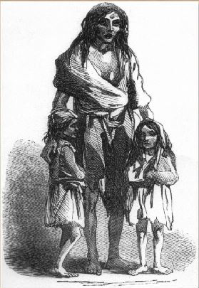 Drawing of Bridget O'Donnel and two children in rags