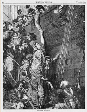 Drawing of emigrants leaving for America on a ship.