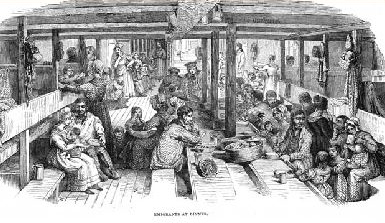 Drawing of emigrants eating on board ship