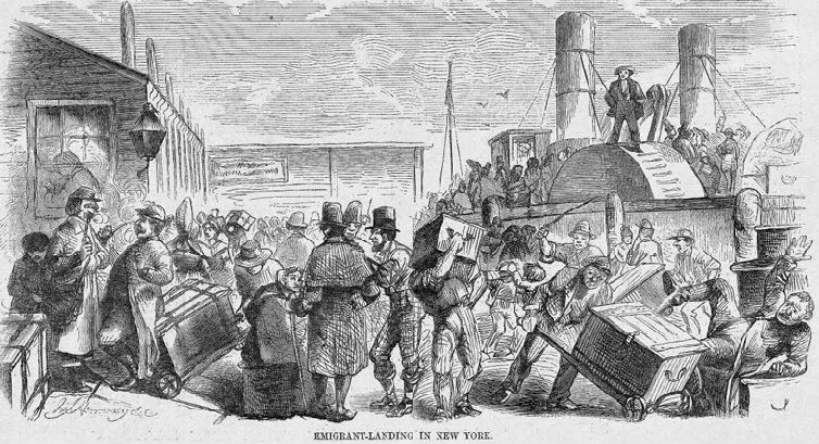 Drawing of emigrants landing in New York dock