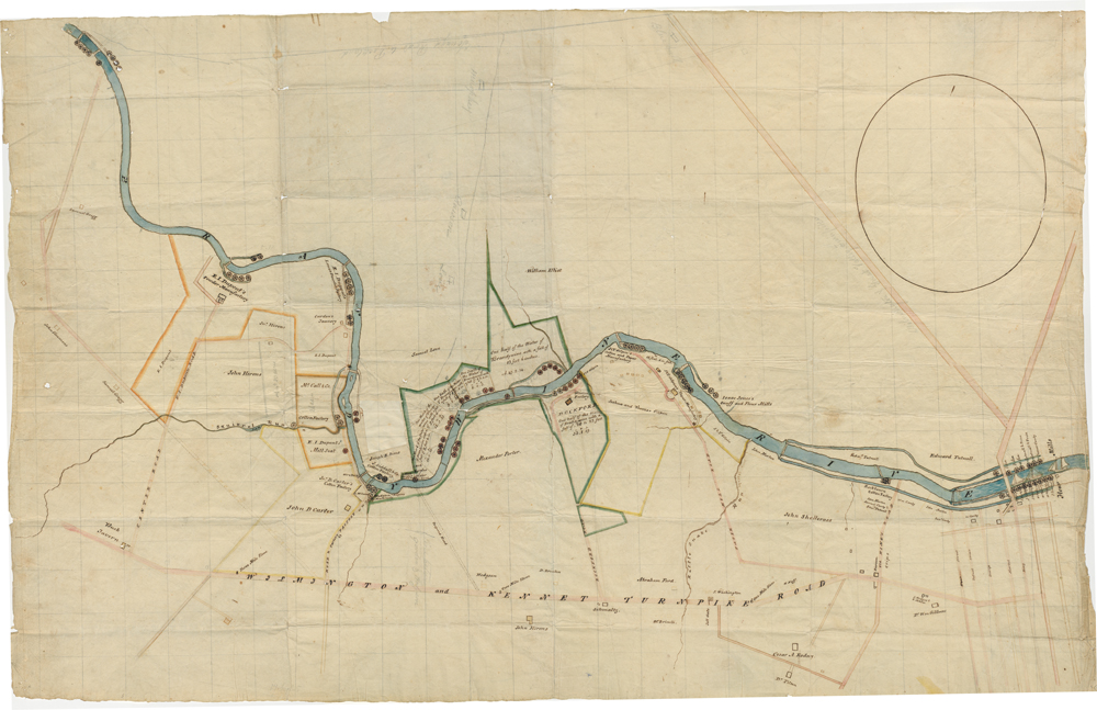 Survey map of the Brandywine River and E.I.'s mill property