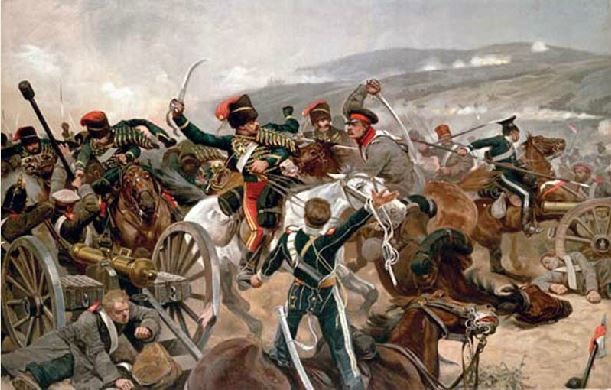 Painting of a battle during the Crimean War