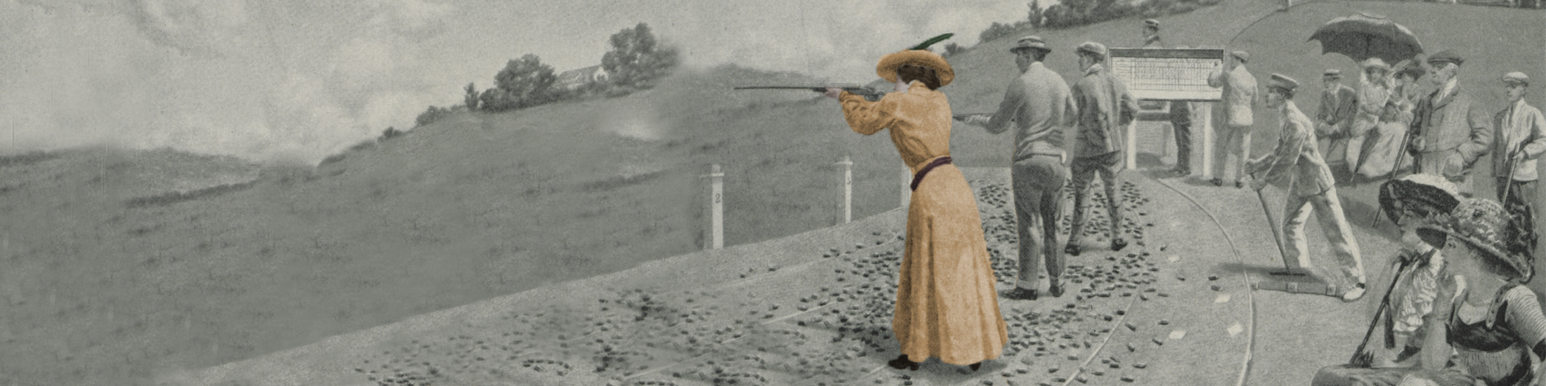A clay shooting club in black and white with a colorized women shooting at the center.