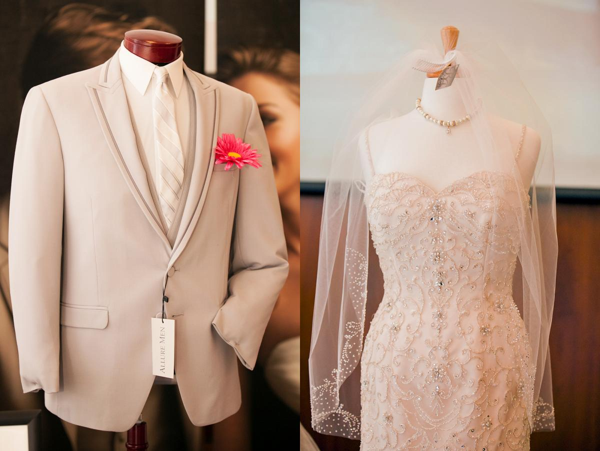 Suit and bridal dress