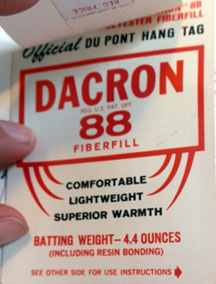 DuPont hang tag for Dacron 88 Fiberfill