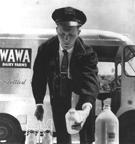 Milkman delivering milk