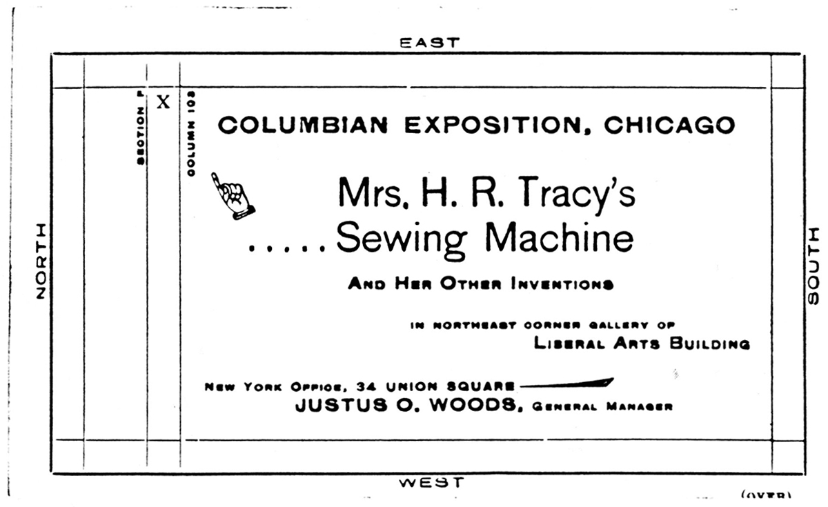 Mrs. Tracey's sewing machine map for the xposition