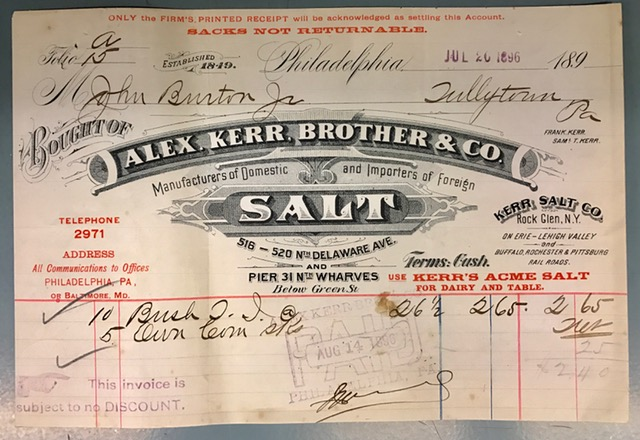 Invoice from Alexander Kerr, Brother & Co., salt dealer in Philadelphia