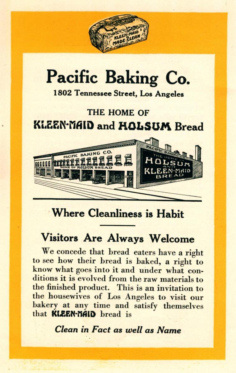 Pacific Baking Co. ad about their factory's cleanliness