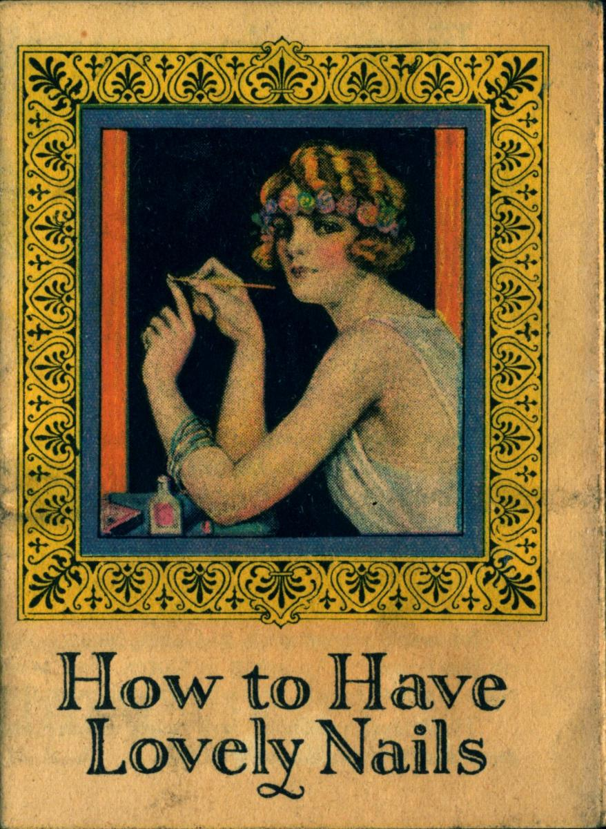 Women painting her nails on a catalog cover, 1924