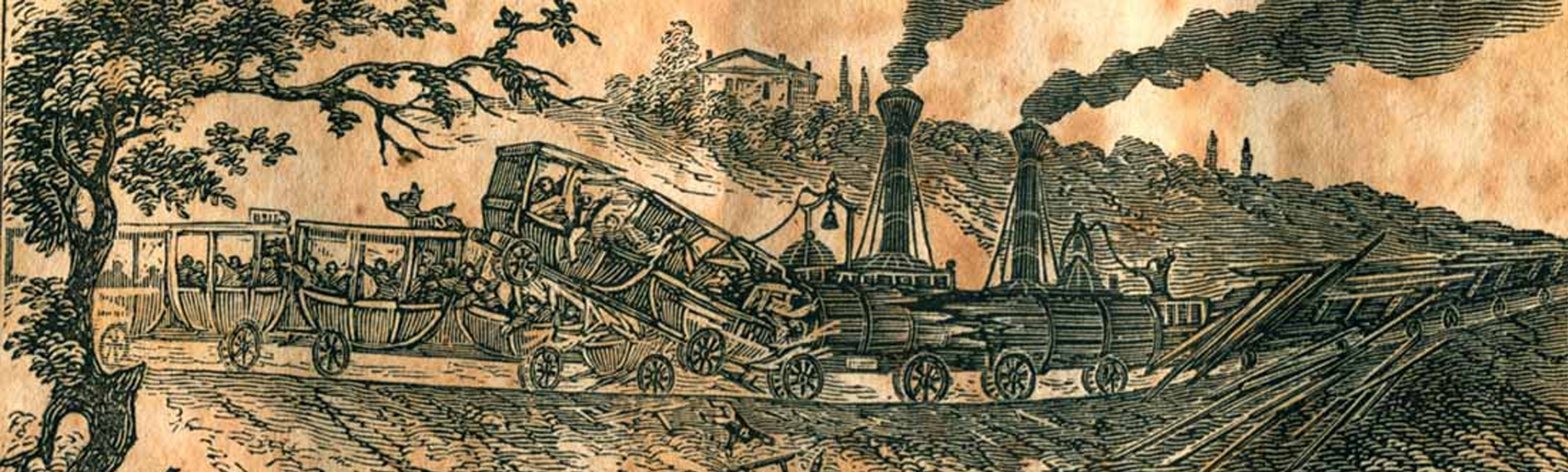 Illustration of a wagon accident