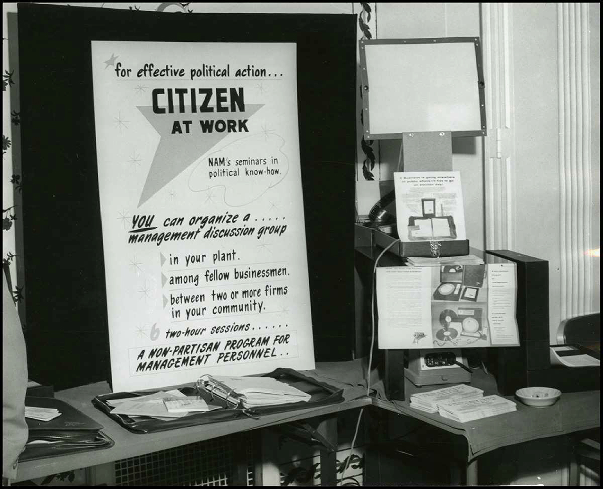 "Display promoting ""Citizen at Work"" seminar."