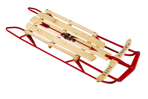 A wooden flexible flyer sled today.