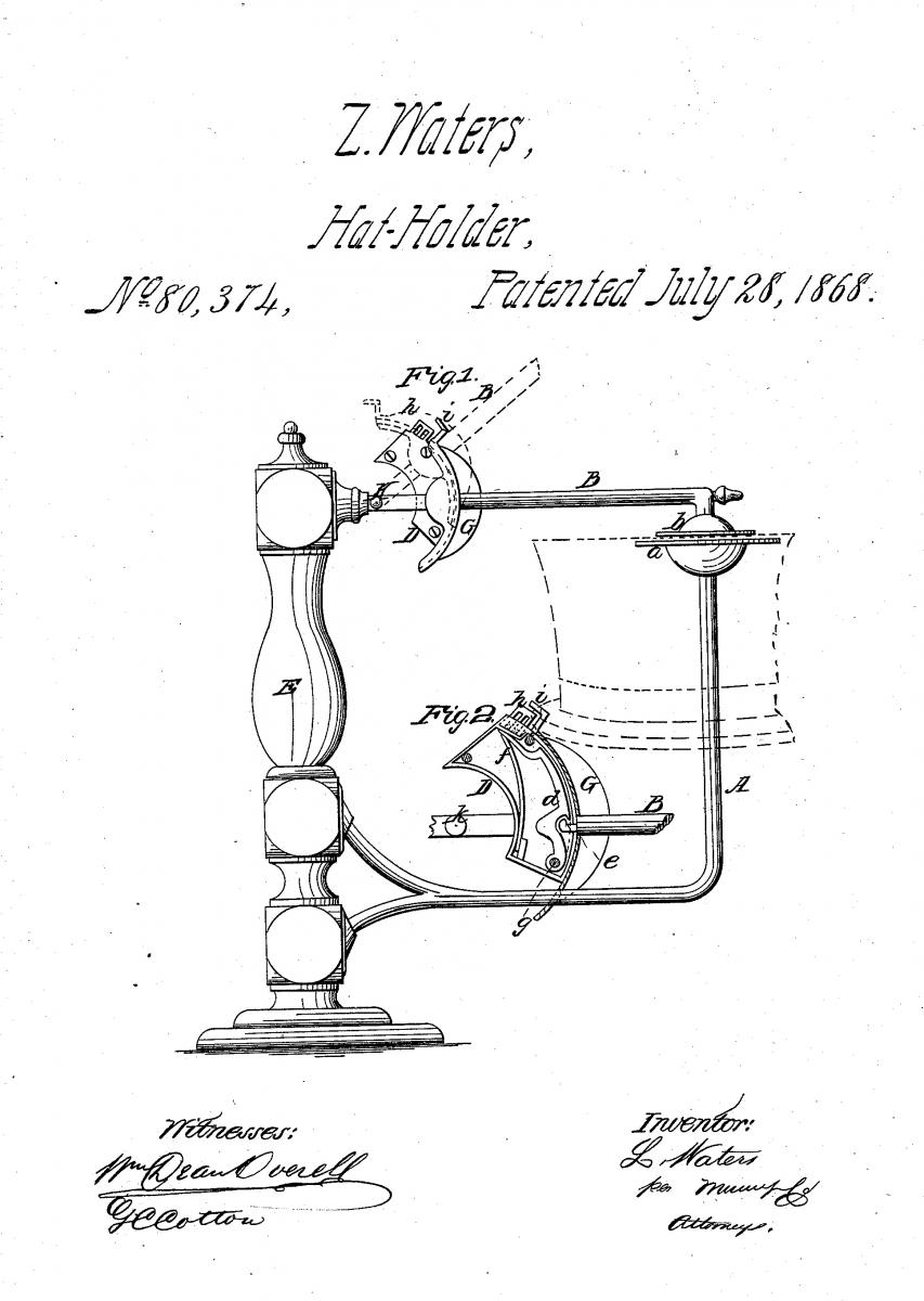 Waters' technical patent drawing.